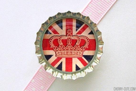 British Crown Bottle Cap Magnet - uk union jack flag magnet, union jack decor, union jack party favors, uk flag, british flag, british party