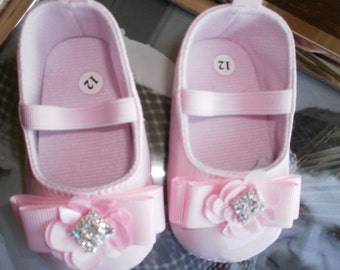 Baby Crib Shoes, Pink Baby Shoes, Girl Shoes, Fancy Shoes, Wedding Shoes, Gift, Elegant, Birthday Shoes, Girlie Shoes