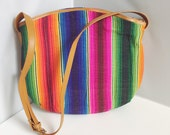 Vintage Beachy Bohemian Vintage Mexican Tapestry Cross Body Purse Shoulder Bag