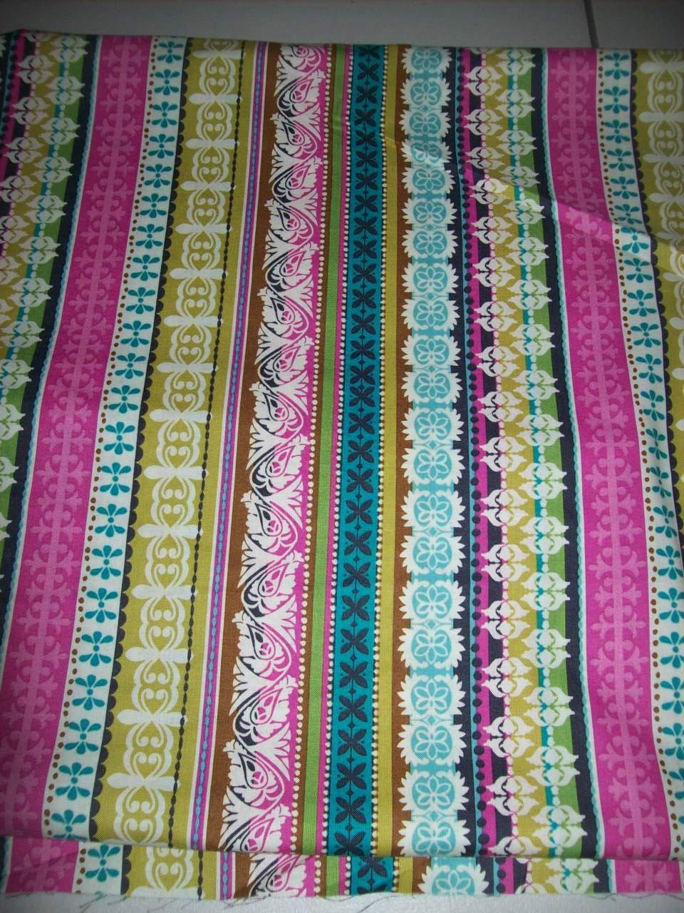 Half Yard Pink Green Pink stripes Tribal print fabric/ Native