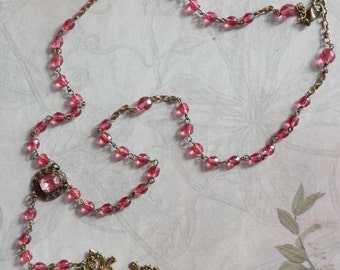 ROSE Celtic Cross Rosary Inspired Necklace