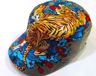 Crouching Tiger Handpainted Designer Grey Military Cap One of a kind