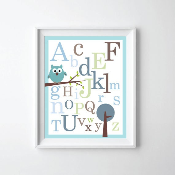 ABC Alphabet Poster print - Baby nursery wall decor - 11X14