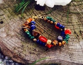 Be in love with life - lapis, tigers eye, carnelian, malachite- color healing crystal gem bracelet