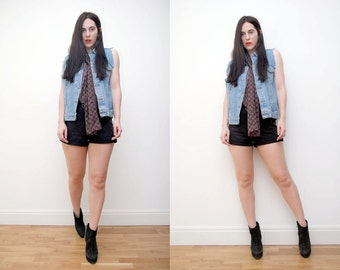 Vintage Denim Jeans South Western Boho Hippie Grunge Waist Coat Vest Jacket 90s