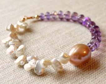 Real Amethyst Bracelet, Keishi Pearl, Genuine Keshi Pearl, Beaded Gemstone Bracelet, Gold Jewelry, Asymmetrical, Free Shipping