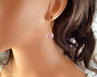 Lavender Pink Earrings, Gold Vermeil, Wire Wrapped Jewelry, Chalcedony Gemstone Heart, Simple Drop Earrings, Free Shipping