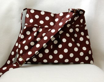Pleated Tote Bag with Adjustable Strap in Brown and White Polka Dots