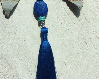 CLEARANCE Blue Howolite Tassel Necklace