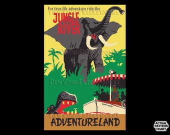 Vintage Jungle River Cross Stitch, Jungle Cruise Pattern, Vintage Disney Poster, Vintage Disney Cross Stitch by NewYorkNeedleworks