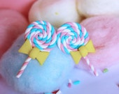 lollipop stud post earrings white, pastel pink & turquoise