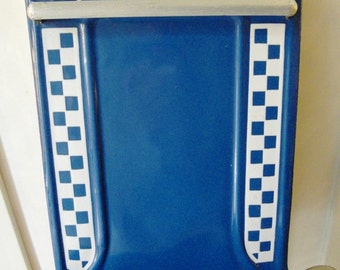 Lovely Antique French enameled UTENSIL RACK with Checks LUSTUCRU Blue