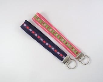 "Key Chain Strap 7.5"" Nylon Webbing and Argyle Grosgrain Ribbon Key Holder Key Fob Choice of Colors"
