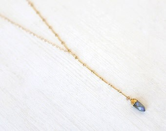 Pointed Labradorite Lariat Dagger Gold Filled Necklace //  everyday modern semi precious jewelry