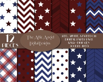 SALE - Army, Military, Veteran's Day Digital Scrapbook, Patriotic, Red White and Blue, Stars and Stripes, Digital Supplies, Instant Download
