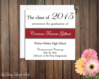 Graduation Announcements - Square Color Block - Class of 2016 - Set of 10 with Envelopes