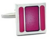 Pink stripe square Cufflinks