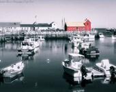 Red Fishing Shack BRADLEY WHARF ROCKPORT Massachusetts Fine Art Photography Coastal Cottage Beach Decor Atlantic Ocean Black White Red