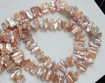 Pink mauve Biwa stick Freshwater pearls (15-17x5-7mm), Full strand