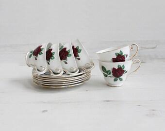 Vintage Teacup and Saucer Set - Royal standard red velvet Bone China Tea Party Kitchenware