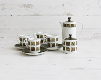 Vintage Coffee set - Green Square Cup saucer creamer lidded sugar pot Kitchenware pottery
