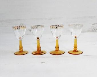 Vintage amber drinking glasses - Barware Gold honey glassware serving display yellow stemmed glass orange