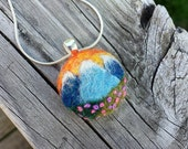 Reserved for Caroline - Sunset Over The Mountains Felted Necklace