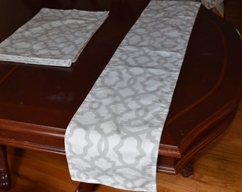 CLEARANCE Premier Prints Sheffield in Gray and White Table Runner and Place mats