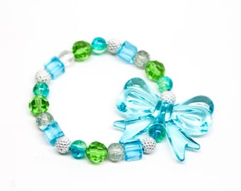SALE Blue and Green Bow Beaded Stretchy Bracelet
