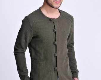 Evergreen / Linen Men's Light Jacket with Chinese Handmade Buttons/ 11 Colors /ANY SIZE/ RAMIES