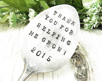 Teacher Appreciation Gift. Hand Stamped Garden Marker. Plant Stake. Thank You Gift. Recycled Vintage Silverware. French or English