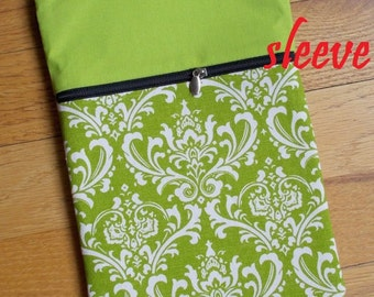 CLEARANCE - personalized SLEEVE cover for ipad mini / kindle / nook / samsung - green damask
