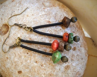 Boho Style Antique Brass with Multi-Color Wood Beads and Black Tubing Earrings