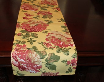 """Table Runner Floral Pattern Yellow, Green, Red 72"""" x 12"""""""