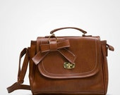 Brown Synthetic Leather Lock Sling Bag with Ribbon for Women