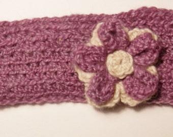 Alpaca Headband/Ear Warmer - Purple with White & Purple Flower - CHILD's Size #K243
