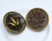 Vintage Victorian Floral Brass Dotted Texture Brown Celluloid Background Button Set, 27mm, 2/set