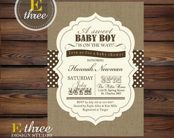 rustic baby shower invitation neutral brown and white boyu0027s shower invite burlap and polka