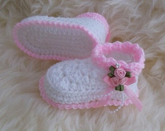 Baby Booties - Crochet Baby Girls Booties - Handmade Rosebud Bootees - Newborn, 0-3 Months, 3-6 Months White and Baby Pink