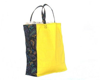 Shopping Bag, Canvas, reusable, yellow and black paisley