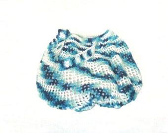 Crocheted Cotton Mesh Shoulder Bag,  white, blues