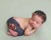 newborn girl PANTS and HEADBAND set (Amy) - photography prop - red, yellow, orange, navy, denim, green, jeggings