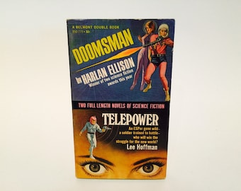 BOOKLOVERS SALE Vintage Sci Fi Book Doomsman by Harlan Ellison / Telepower by Lee Hoffman 1967 Paperback