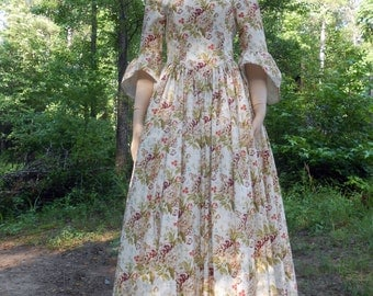 F034  Colonial Women's Dress with Drape and Mob Cap