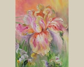 ORIGINAL Oil Painting on canvas Palette Knife Colorful Texture pastel bright tones 3d green pink orange bloom flower spring ART by Marchella