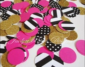 Party Confetti, Black, Gold Glitter, Hot Pink, Stripes, Dots, Bridal Shower Decor, Bachelorette Supply, Birthday Table Scatter,  200 Piece