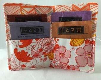 Tea Wallet Tea Bag Wallet  Tea Bag Case Tea Bag Holder - Tea Holder Tea Bag Cozy - Tea Bag Organizer Art Gallery Meadow Leas Bloom in Blush