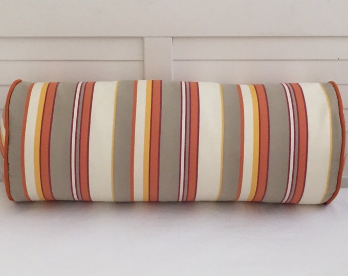"Duralee Stripe 9""x24"" Bolster Pillow with Piping for Indoor or Outdoor Use - Includes Pillow Cover and Bolster Pillow Insert"