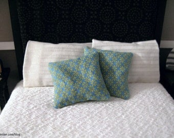 Blue and yellow floral pillows - set of 2 - dollhouse miniature
