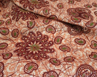 Vintage Cotton, Tonga fabric, Batik, Tribal, 1940's Printed Cotton Yardage, Paisley